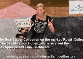 Teppich-Kollektion by Maja Prinzessin von Hohenzollern erhält als erste das PETA-APPROVED-VEGAN-Zertifikat.